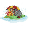 Winnie Pooh and friends under a rain