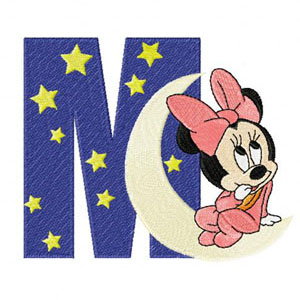 Minnie Mouse M moon machine embroidery design