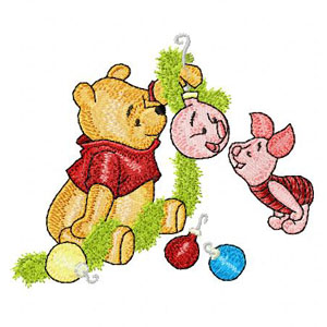 Winnie Pooh and Piglet before Christmas machine embroidery design