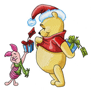 Winnie Pooh and Piglet with gifts machine embroidery design