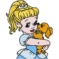 Little Princess with small dog machine embroidery design