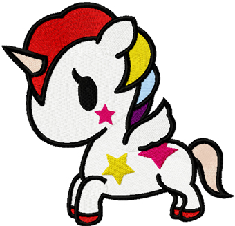 Tokidoki Unicorno machine embroidery design