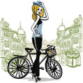 Lady Paris and bicycle machine embroidery design