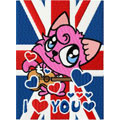 British Kitty machine embroidery design