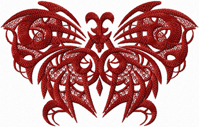 Red Gothic butterfly embroidery design