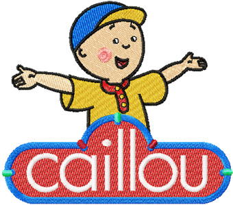 Caillou with logo machine embroidery design