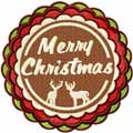 Merry Christmas round label machine embroidery design