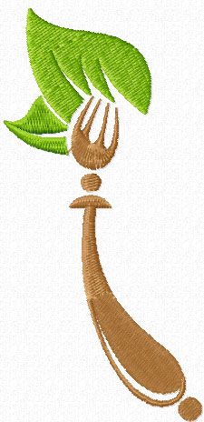 Fork free machine embroidery design