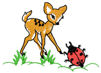 Bambi and bug free machine embroidery design