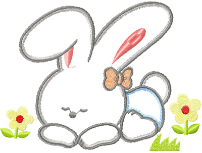 Cute Bunny Free Applique Machine Embroidery Design Instant Download