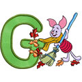 Free embroidery design Piglet letter G