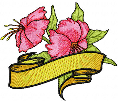 free hibiscus flowermachine embroidery design