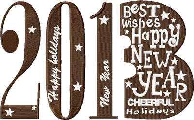 Happy new year free machine embroidery design