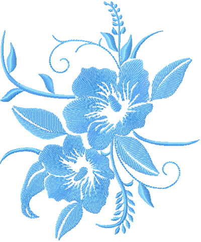 Free blue flower machine embroidery design