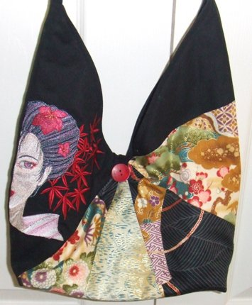 Oriental fan bag with embroidery
