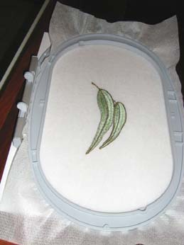 3D leaves embroidery