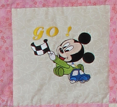 Mickey Mouse Racing embroidery design