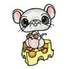 Mouse and cheese machine embroidery design