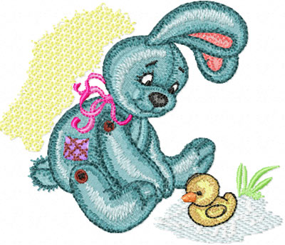 Bunny with small duck machine embroidery design for quilt and baby