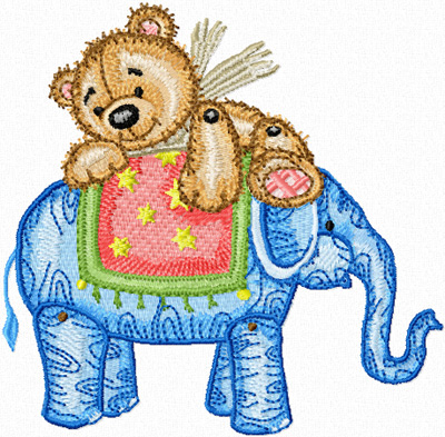 Teddy Bear and elephant machine embroidery design