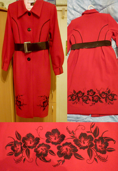 coat with blue flower embroidery design