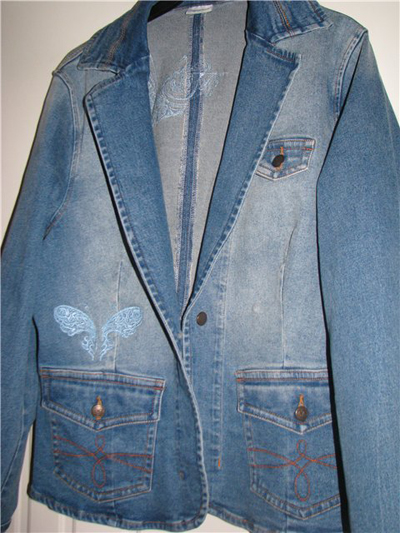 coat with free machine embroidery
