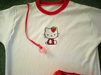 Hello Kitty Strawberry costume embroidery