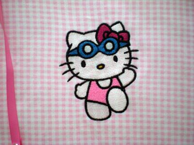 Hello Kitty Swim machine embroidery design