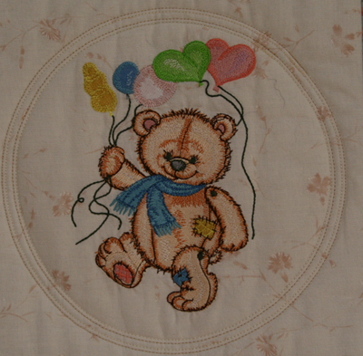 teddy bear with ballons embroidery