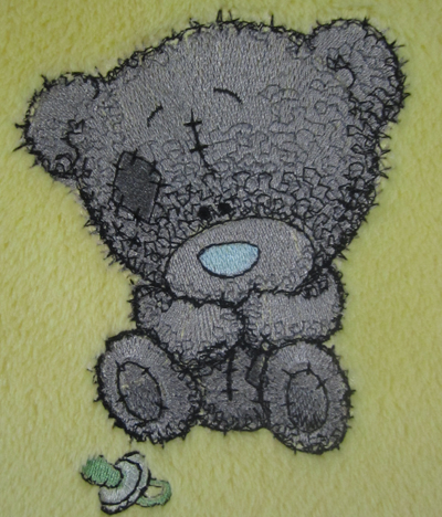 teddy bear embroidered blanket