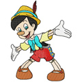 Pinocchio machine embroidery design