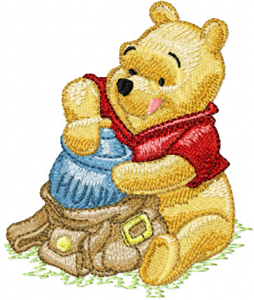 Winnie Pooh With Bag Machine Embroidery Design