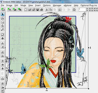 geisha machine embroidery resize