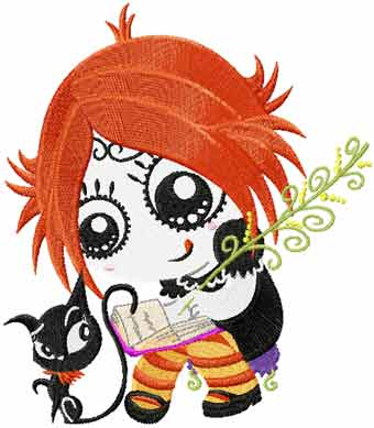 Ruby Gloom with kitty embroidery design