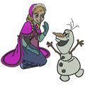 Anna and Olaf machine embroidery design