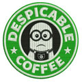 Despicable coffee label machine embroidery design