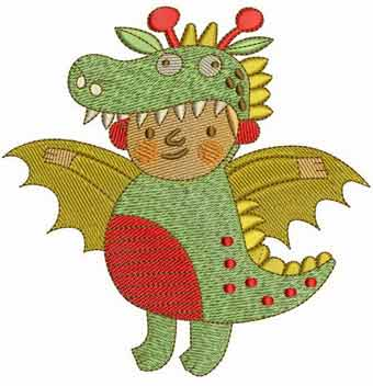 Halloween Dragon costume embroidery design