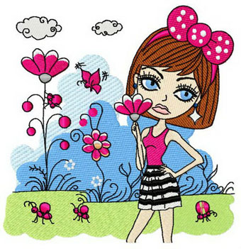 Fussy girl embroidery design