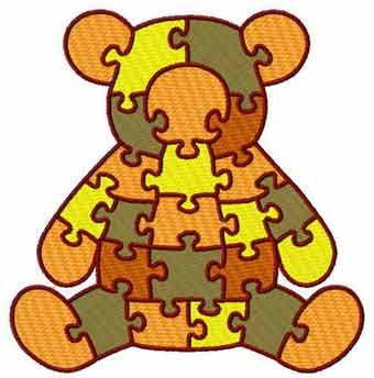 Teddy puzzle embroidery design