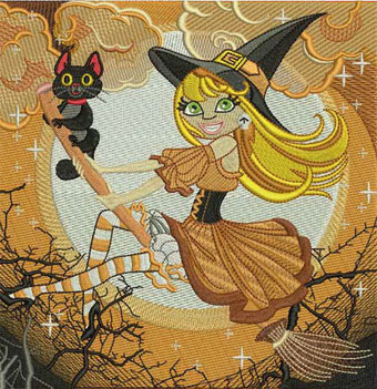 Wonderful witch embroidery design