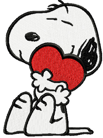 Snoopy with heart machine embroidery design