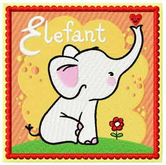 Elephant block embroidery design