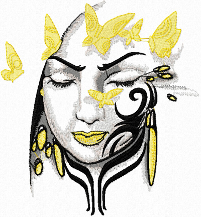 Tribal Lady Free Machine Embroidery Design For Modern Fashion Clothes