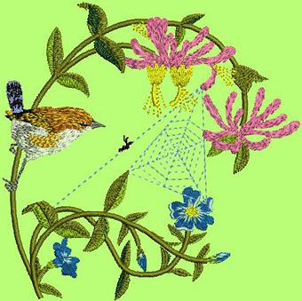 Bird hunting machine embroidery design