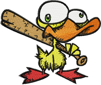 Nervous duck with a baseball bat machine embroidery design