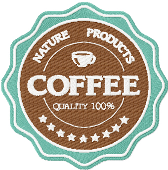Coffee Labels American Classic style machine embroidery design